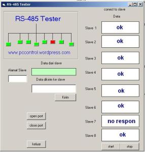 Menu Utama rs485 tester