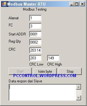 Modbus Master  untuk function code 03 dan 04