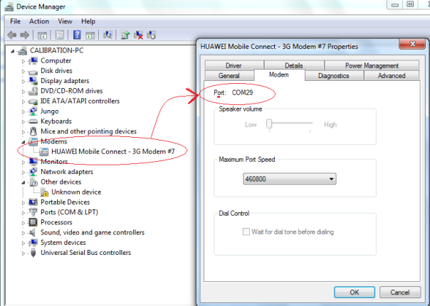 melihat NO PORT Modem GSM pada device Manager